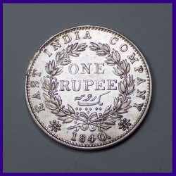 1840 Continuous Legend One Rupee Silver Coin Victoria Queen - East India Company