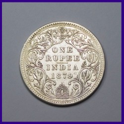 1879 One Rupee A /IV With Dot Variety Victoria Empress Silver Coin, British India