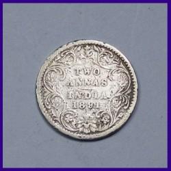 1891 Two Annas Victoria Empress Silver Coin, British India