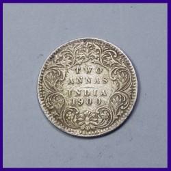 1900 Two Annas Victoria Empress Silver Coin, British India