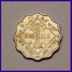 1909 One Anna Coin Edward VII King British India