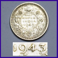 1943 Half (1/2) Rupee Lahore Mint Dot In 3 George VI Silver Coin